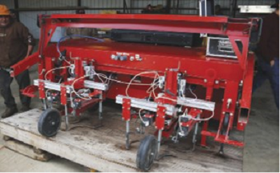 This Steketee automatic weeder was on display at a recent field day. Equipment like this is designed to remove weeds from row crops without damaging the crop. (photo Wenhao Su)