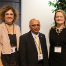 Conference chair Maeli Melotto (Plant Sciences professor, UC Davis), Parag Chitnis (USDA NIFA deputy director), Gail Taylor (Plant Sciences chair and professor, UC Davis), and co-chair Allen Van Deynze (Plant Sciences researcher, UC Davis) at the Breeding Crops for Enhanced Food Safety conference at UC Davis.