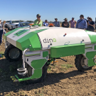 Dino, a driverless cultivator to remove weeds, is being tested by Steve Fennimore and Simon Belin at UC Davis. (photo Ann Filmer/UC Davis)